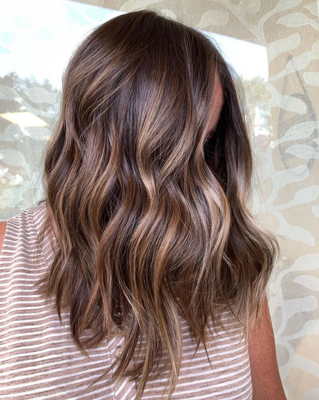 brown with golden balayage pieces